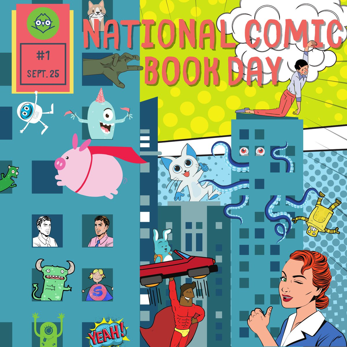 Happy National Comic Book Day!   We've got tons of comics and graphic novels available for curbside pickup or for download immediately on Hoopla!