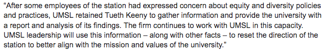 @KJReynoldsSTL @StLouisLindsay Thanks again for your question @KJReynoldsSTL. Concerns about the investigation will be part of our ongoing reporting about the issues raised at STLPR. Here is a response from Bob Samples, chief of staff at @umsl: