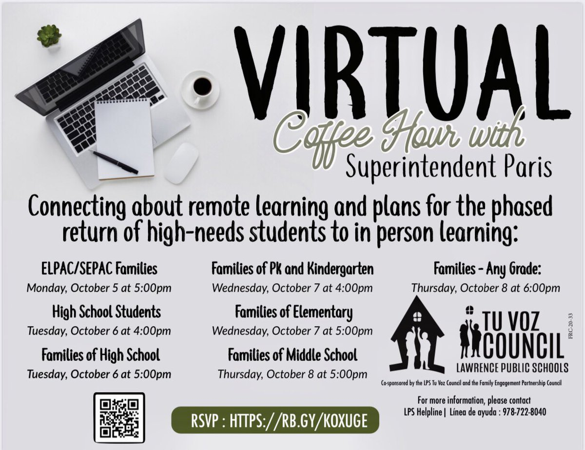 Families & high school students:  The next round of Virtual Coffee Hours w/the Superintendent starts Mon, Oct. 5 ☕️   Get updates & ask questions about remote learning and the plans for the return of high needs students to in-person learning  Register at