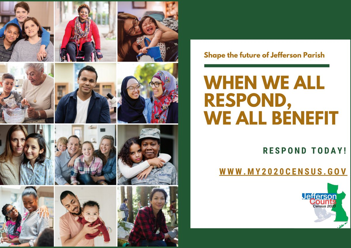 When we all respond, we all benefit. Respond to the #2020Census at , text 'CountMe' to 898-211 or call 1-844-330-2020. #JeffersonCounts