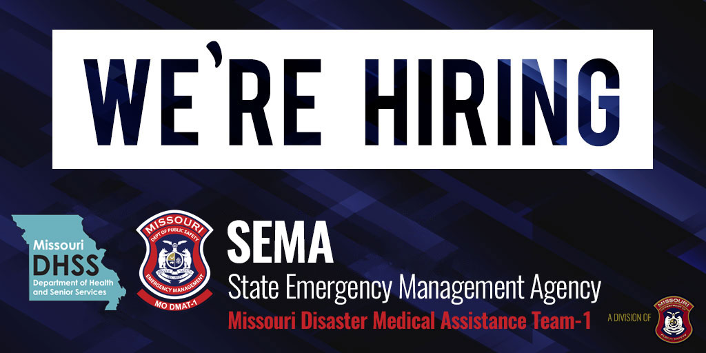🩺 The Missouri Disaster Medical Assistance Team is HIRING part-time NURSE positions to support statewide #COVID19 medical response & enhanced testing efforts. If interested, email your resume to apply@mo1dmat.com. Learn more about MO DMAT-1: