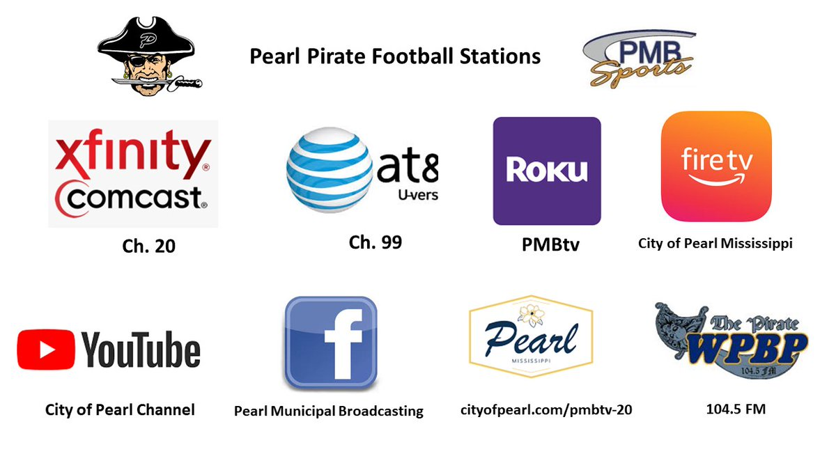 It's Pirate Gameday with Petal coming to Ray Rogers Stadium tonight. The City of Pearl has 7 different ways to watch the game free of charge through the Pearl Municipal Broadcasting Network. The pregame show starts at 6:30 p.m., kickoff at 7 p.m. @MayorWindham @PearlPiratesPHS