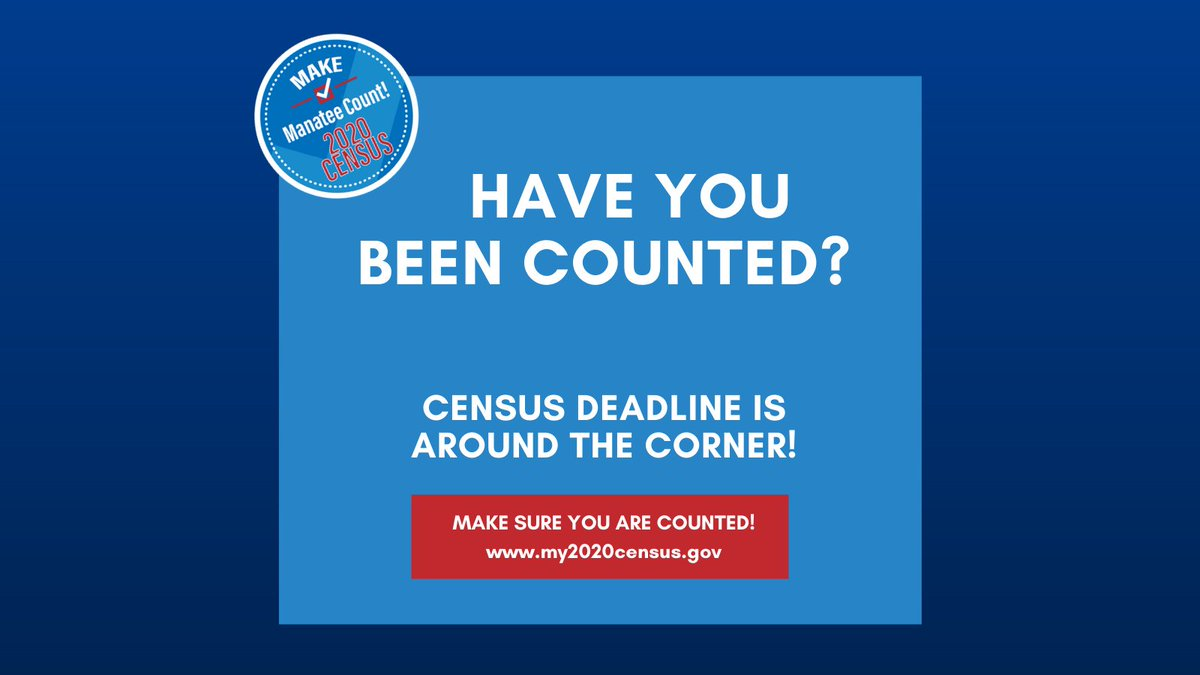 An accurate count for our county is critical for future programs, resources and decisions.  The deadline to respond is around the corner - please fill yours out today at !  #MakeManateeCount