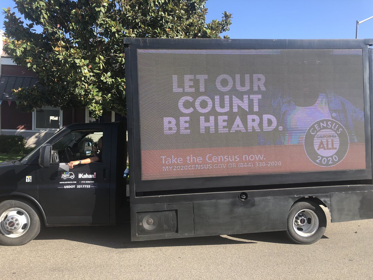 Today the CA Census Digital Truck is driving throughout #SantaMaria reminding everyone to take the #2020Census. It will start at 10:00 am, at Costco then northwest neighborhoods where the self-reporting is lowest, and visit supermarkets, big box stores, pharmacies, and parks.