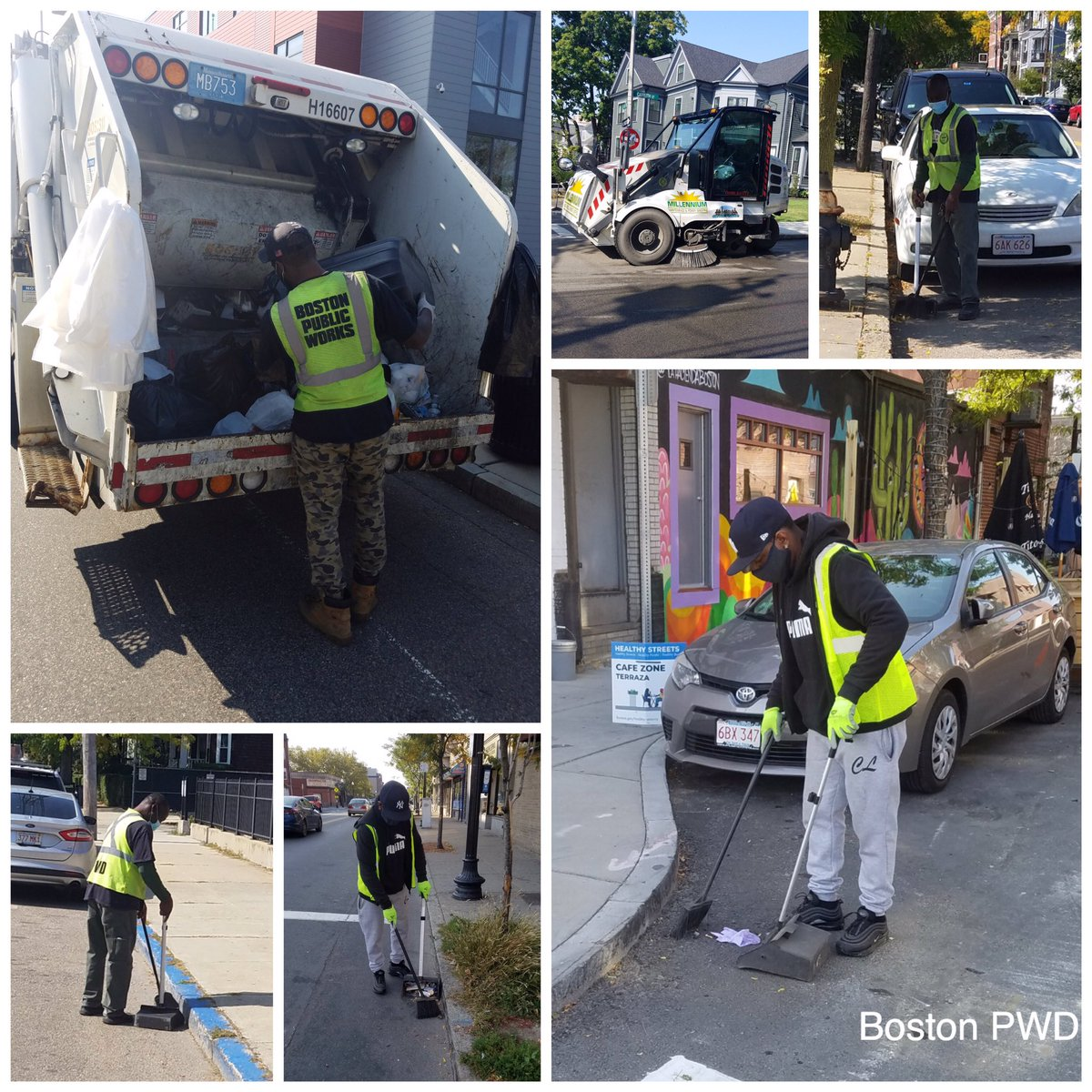 While PWD's District 7 crew is cleaning litter on multiple streets in #Dorchester and emptying trash receptacles 🗑 in #Mattapan, our District 9 Hokey, James, is making sure that #CentralSquare in #EastBoston is looking good!!
