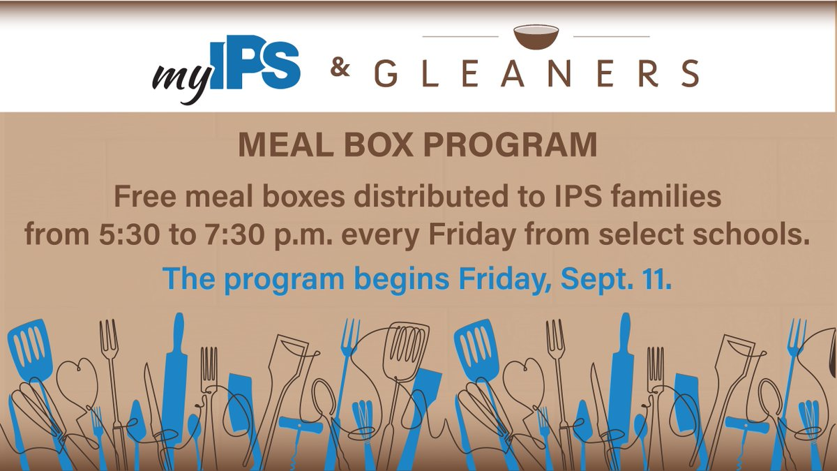 Free meal boxes are being distributed TODAY!  IPS and @GleanersFBIndy joined forces again to feed students and families. Follow the link for locations!  👉