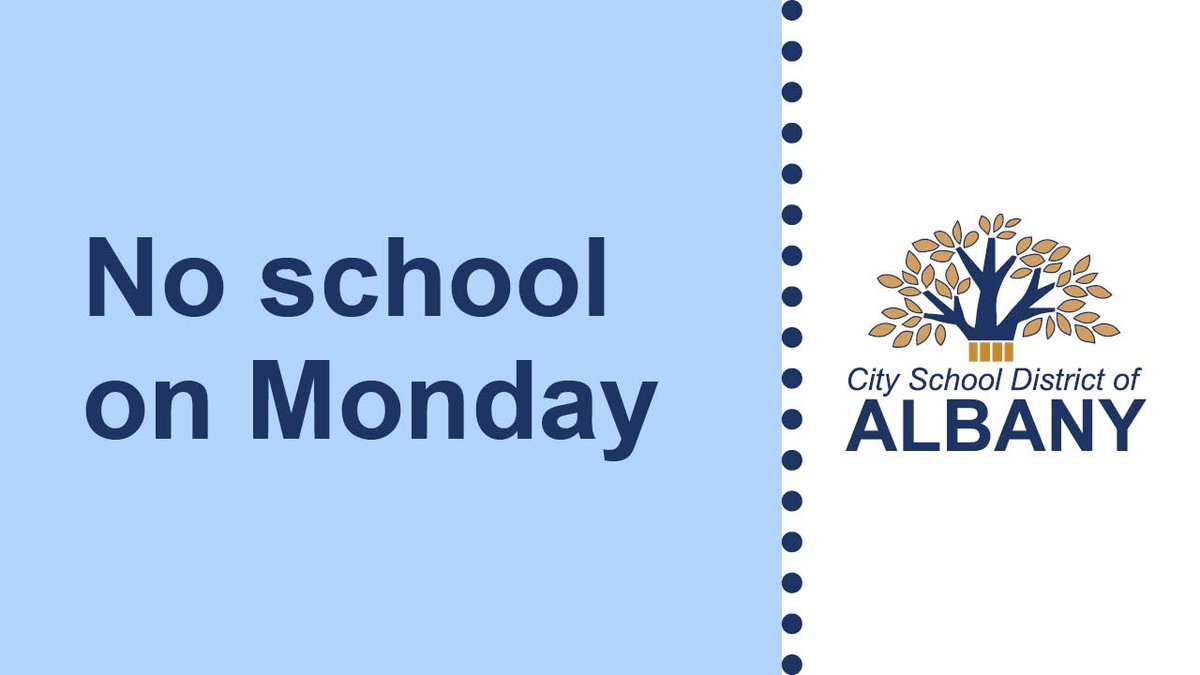 All City School District of Albany schools and administrative offices will be closed Monday in observance of Yom Kippur. Starting Tuesday, all schools and students will operate on a full-day schedule.  More: