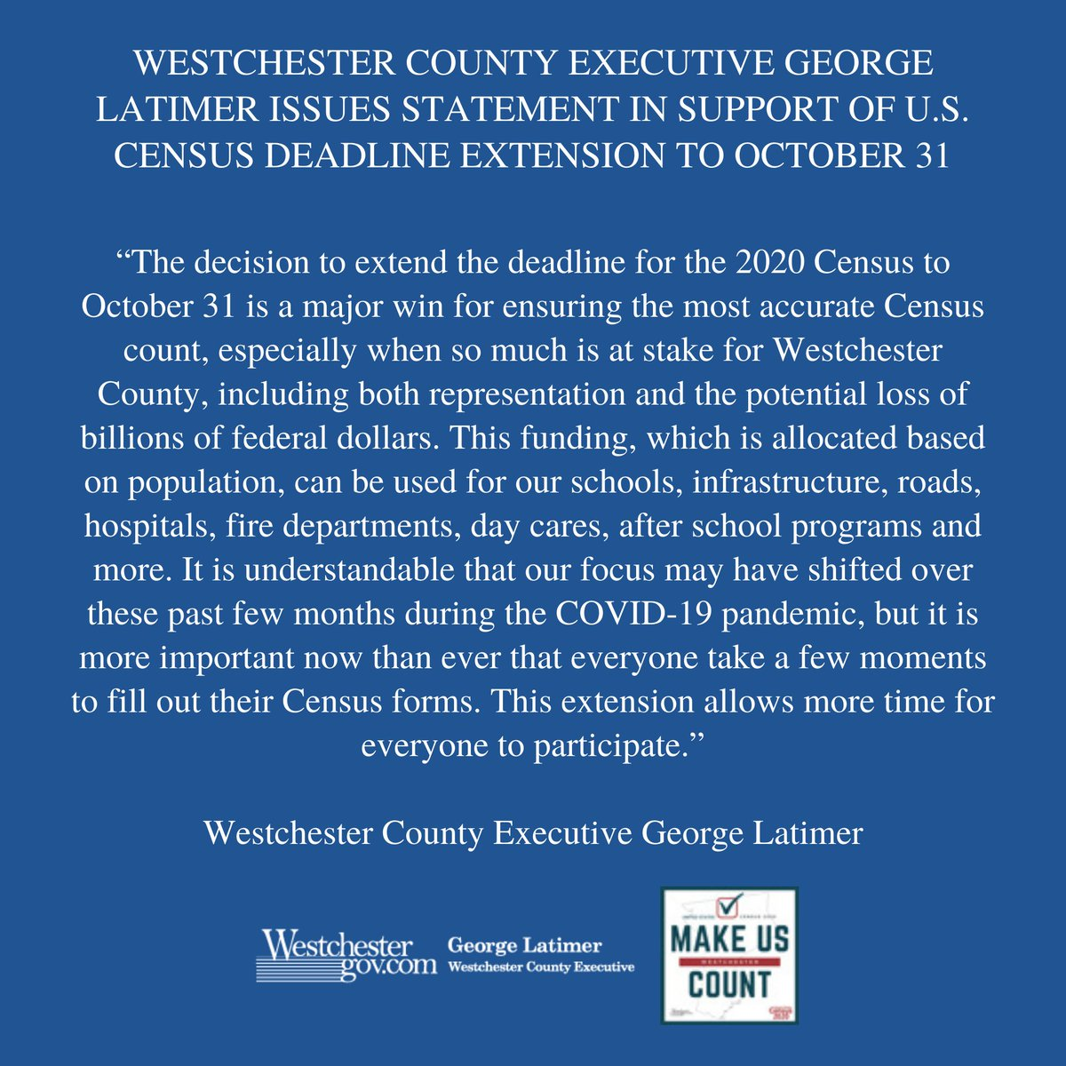 Westchester County Executive George Latimer issues statement in support of the 2020 Census Deadline Extension to October 31