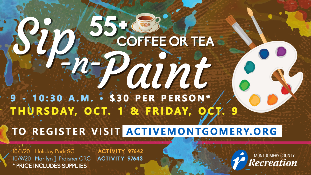 Our Sip-N-Paint events are always a hit, so we decided to do it for ages 55 and up. Our first event will be on Thursday, October 1st at Holiday Park SC. Register today! #sipandpaint #Fridayfeeling #paintnsip