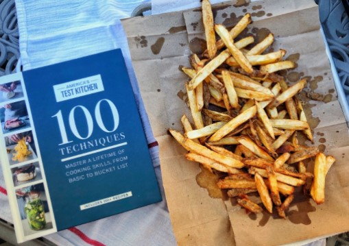 Kitchen Secrets! Julia, this week's chef from Potomac Library, shares Easier French Fries from 100 Techniques: Master a Lifetime of Cooking Skills, from Basic to Bucket List by America's Test Kitchen (found in adult non-fiction, 641.5 Ame). #pwplibraries
