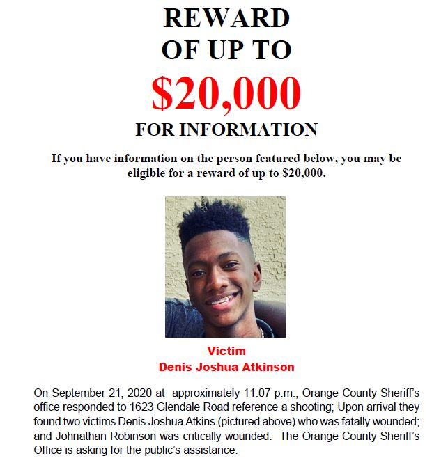 The reward in the 9/21 murder of 14-year-old Denis Joshua Atkinson is now $20,000, thanks to a generous donation from the @FLSsheriffs Criminal Apprehension Assistance Program (CAAP), OCSO & Crimeline.  Someone knows who did it. Call @CrimelineFL anonymously at 800-423-8477.