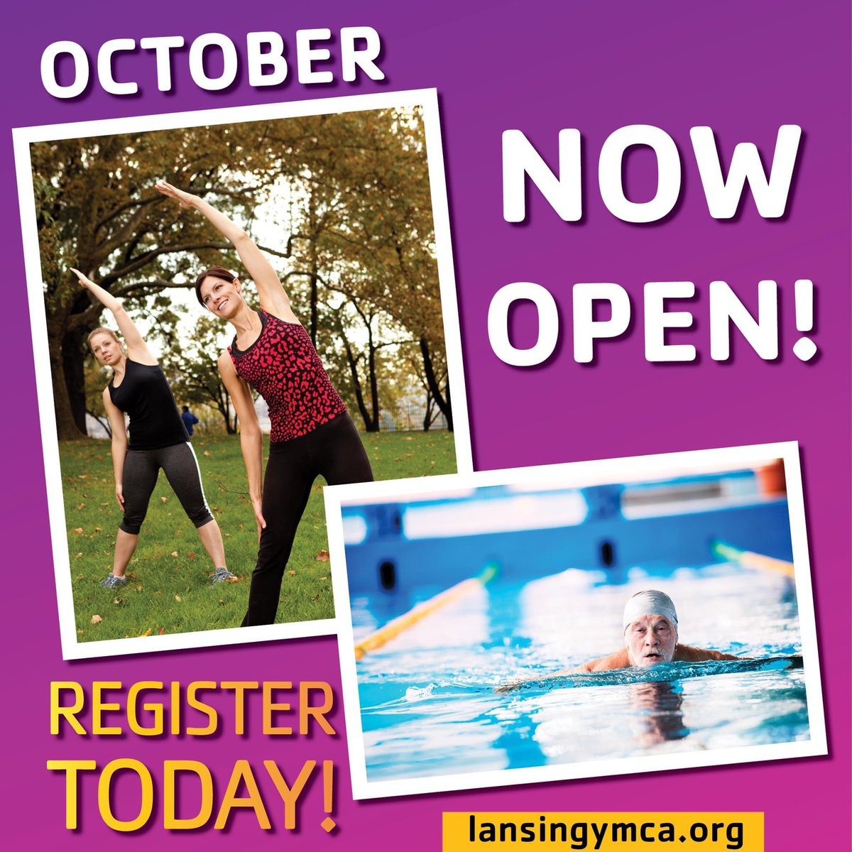 October Registration is now open for Outdoor Group Fitness Classes and Lap Swim Reservations with the @YMCALansing! Secure your spot today! For more info. visit: