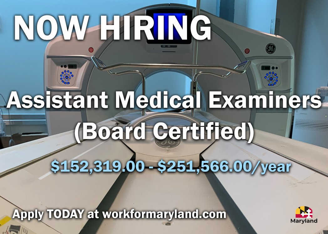 Now Hiring Assistant Medical Examiners! Salary: $152,319.00- $251,566.00/year Apply here:  For more information visit  #MDStateJobs #AssistantMedicalExaminer #OCME