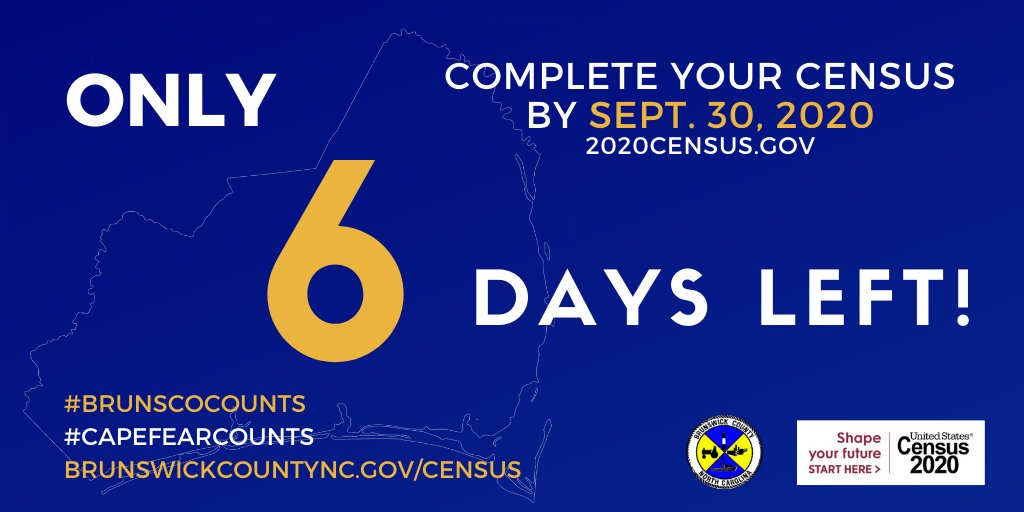 Only 6 days left—don't miss out! Responding to the #2020Census is safe, easy, and important. #Census takers will be visiting homes to help you respond, but you can also complete the 2020 Census online NOW at    #Brunsco #CapeFearCounts #BrunscoCounts
