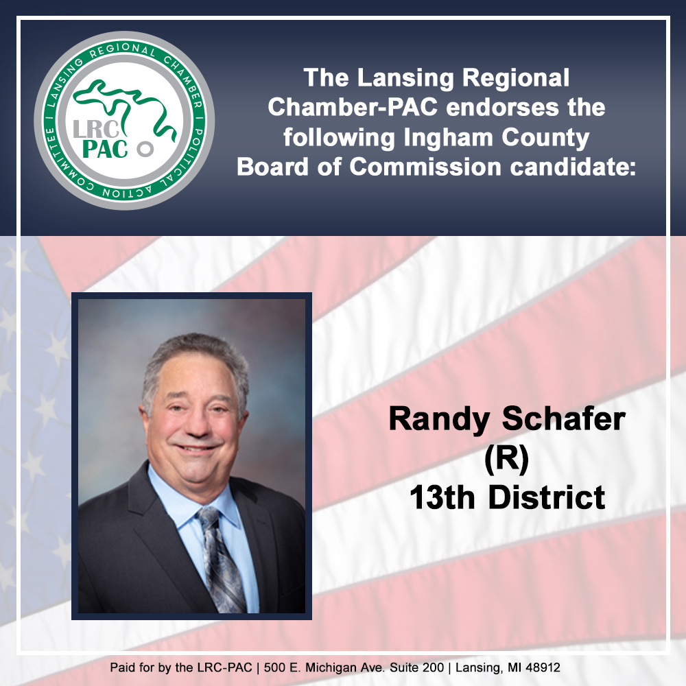 We are proud to endorse Ingham County Commissioner Randy Schafer! We appreciate his friendship and efforts for our business community and region. #InghamCounty #localgov #vote