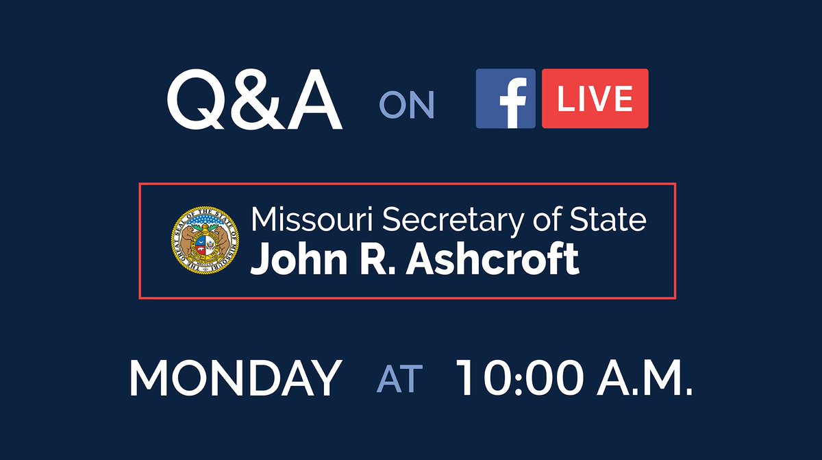 Have an election question for Secretary Ashcroft? He'll be Live on Facebook Monday, September 28, at 10 AM answering any you might have! #TrustedInfo2020 #MOvotes #VoteReady #moleg