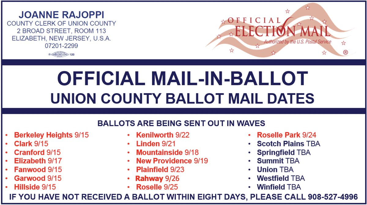Ballots for @CityofRahway residents will be sent out on Saturday, September 26th.