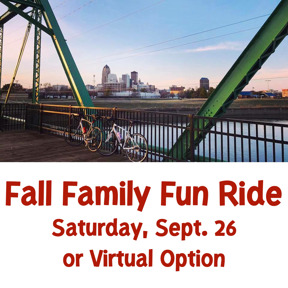 Join us tomorrow for our Fall Family Fun Ride! The 10-mile ride also includes a family-friendly scavenger hunt where you are challenged to find city amenities based on photos and riddles.   Registration: $10 Virtual Registration: $12  Sign up online at