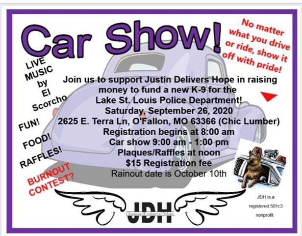 Tomorrow at (Chic Lumber) - Justin Delivers Hope is hosting a car show in of their son to raise money to provide us with a police K-9.  There will be live music & food.   #HelpUsGetAK-9 #JustinDeliversHope
