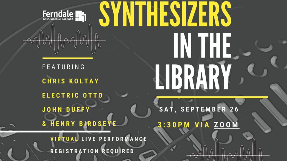 Here's the link to connect to the Synthesizer Expo Webinar, a.k.a. Synthesizers In The Library, set for Saturday.     Our panelists will enter that room at 3:30pm sharp to do 10-minute demonstrations, and then anyone in attendance can type questions
