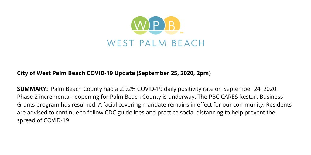 For the latest City of West Palm Beach COVID-19 update, please visit: