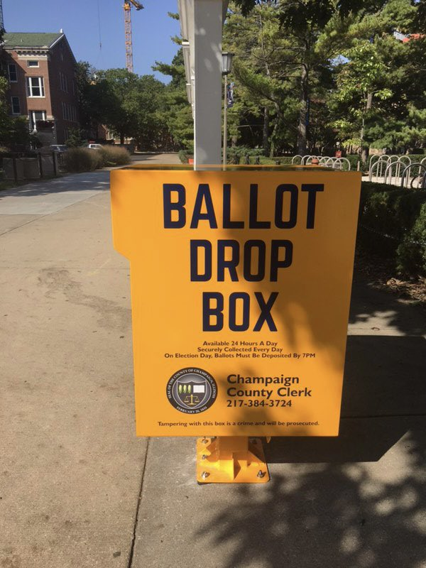 Another drop box up, this time on @Illinois_Alma campus! #vote #vote2020 #votebymail