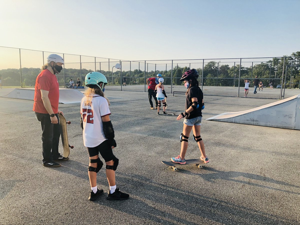 Learn to Skate Two, participants learn new skateboarding skills and build confidence both on and off the skateboard. Class starts October 2nd. Register today!  #MoCoRec #skateboard #skatergirls