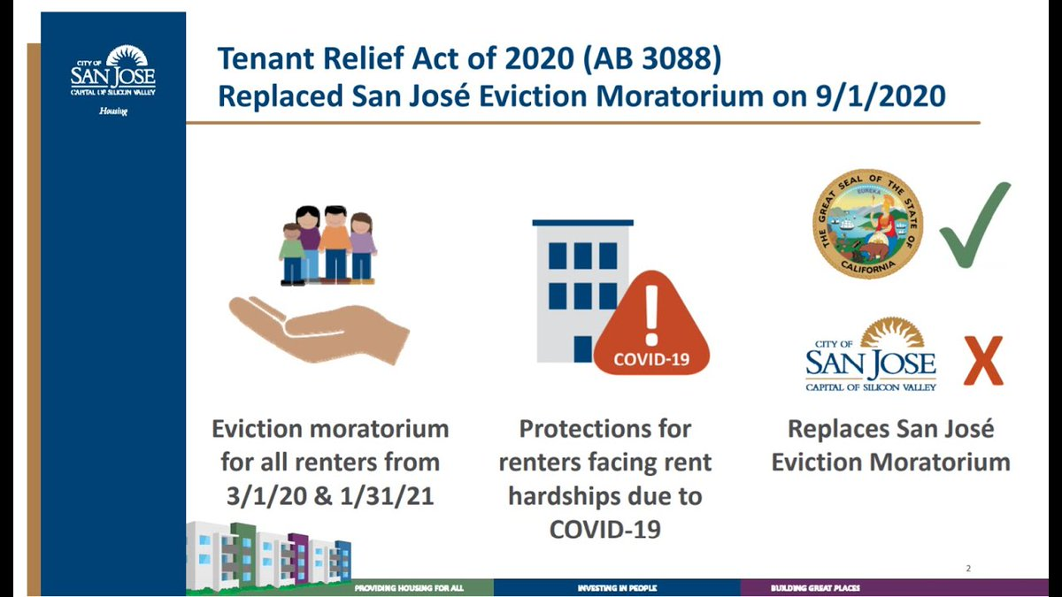 Looking to learn more about the Tenant Relief Act of 2020? Watch our webinar and call the Rent Stabilization Program if you have more questions: (408) 975-4480.