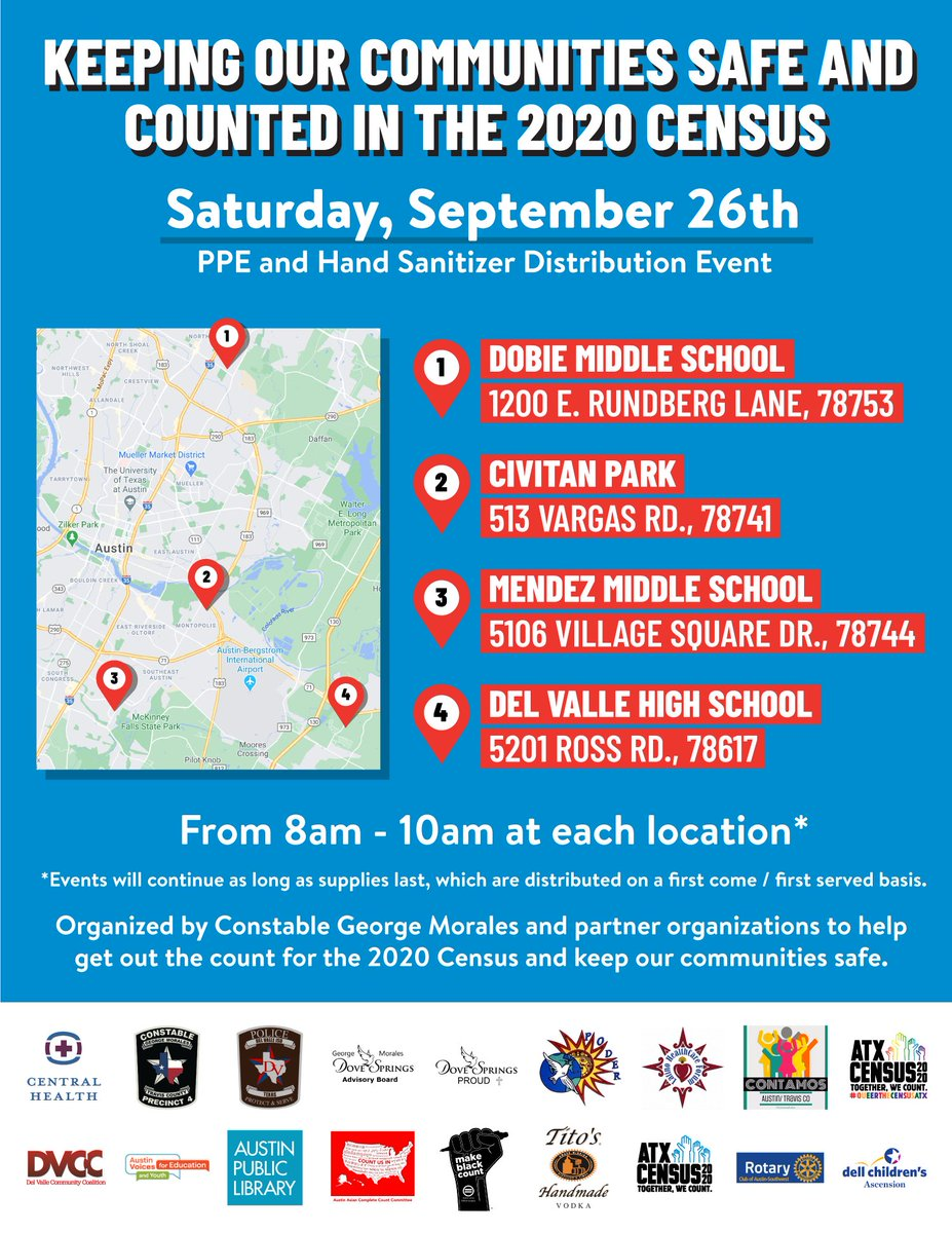 Join us tomorrow morning (8-10 a.m.) at one of our drive-thru events to make sure you get counted in the 2020 Census! As a bonus, we're distributing free PPE to help keep our community safe during #COVID19.