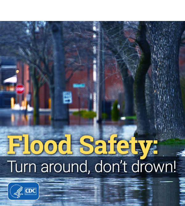 Remember not to drive through flooded areas and standing water. Be careful! Learn more about staying safe during a #flood.   Recuerda no manejar por áreas inundadas y agua estancada. ¡Ten cuidado!