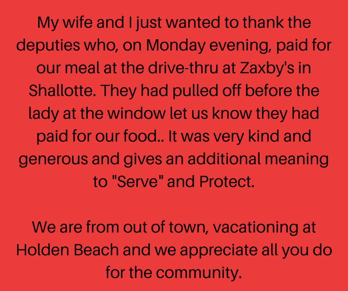 "Because service goes beyond enforcing the law...Many of our deputies are ""paying it forward"" in grateful appreciation for all the kindnesses bestowed upon them. It is humbling how our community, and even visitors to our community, show support and encouragement to our deputies."