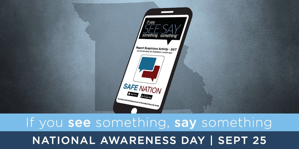 There's a new way to report suspicious activity in MO. The SafeNation app allows you to anonymously report suspicious activity & is in the Apple Store & Google Play. You can upload pictures. It builds on #SeeSomethingSaySomething When we speak up it can help protect all of us!