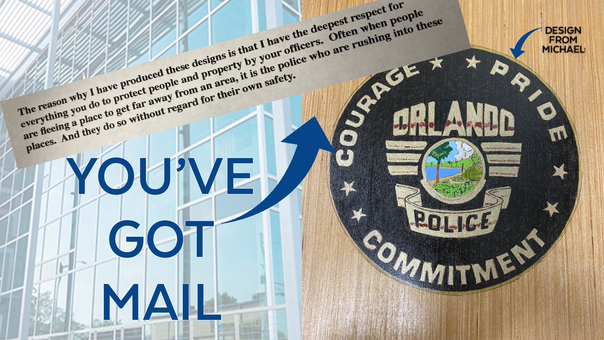 YOU'VE GOT MAIL: @OrlandoPDChief received this painting of the OPD seal from retired science teacher Michael with a letter of support for our officers. #ThankYouORL