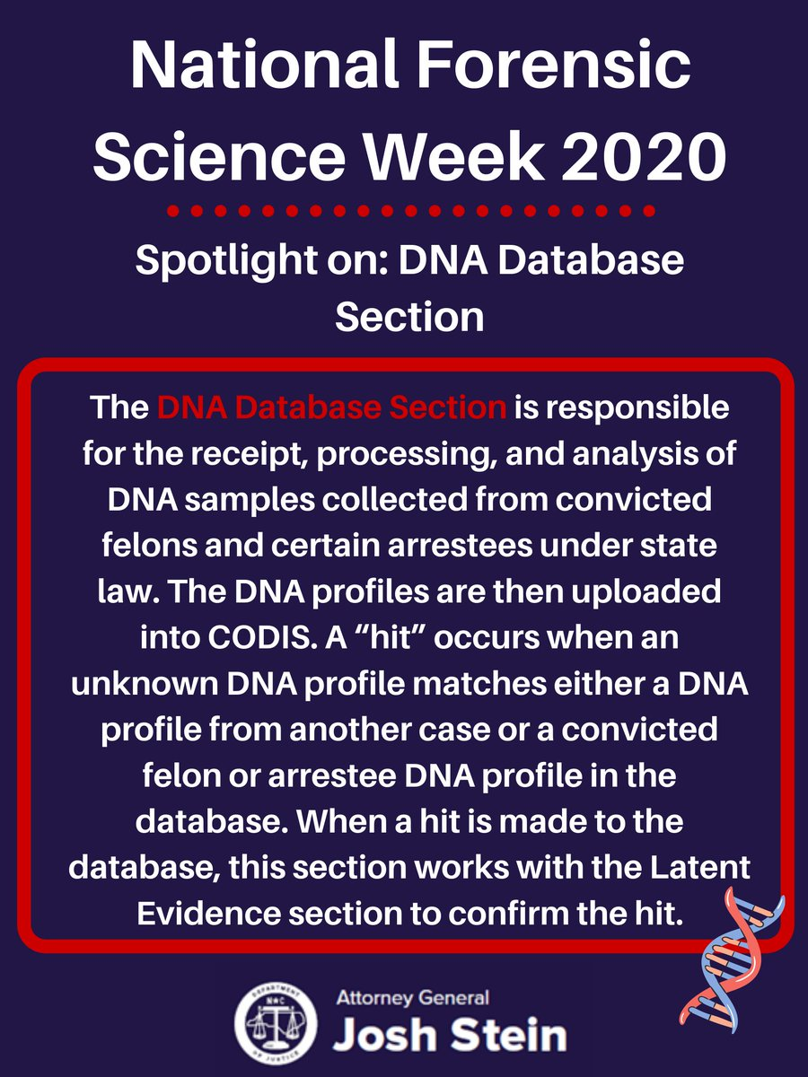 In our final State Crime Lab spotlight of the week, we're featuring the DNA Database Section, which processes and analyzes DNA samples during criminal investigations. #NationalForensicScienceWeek