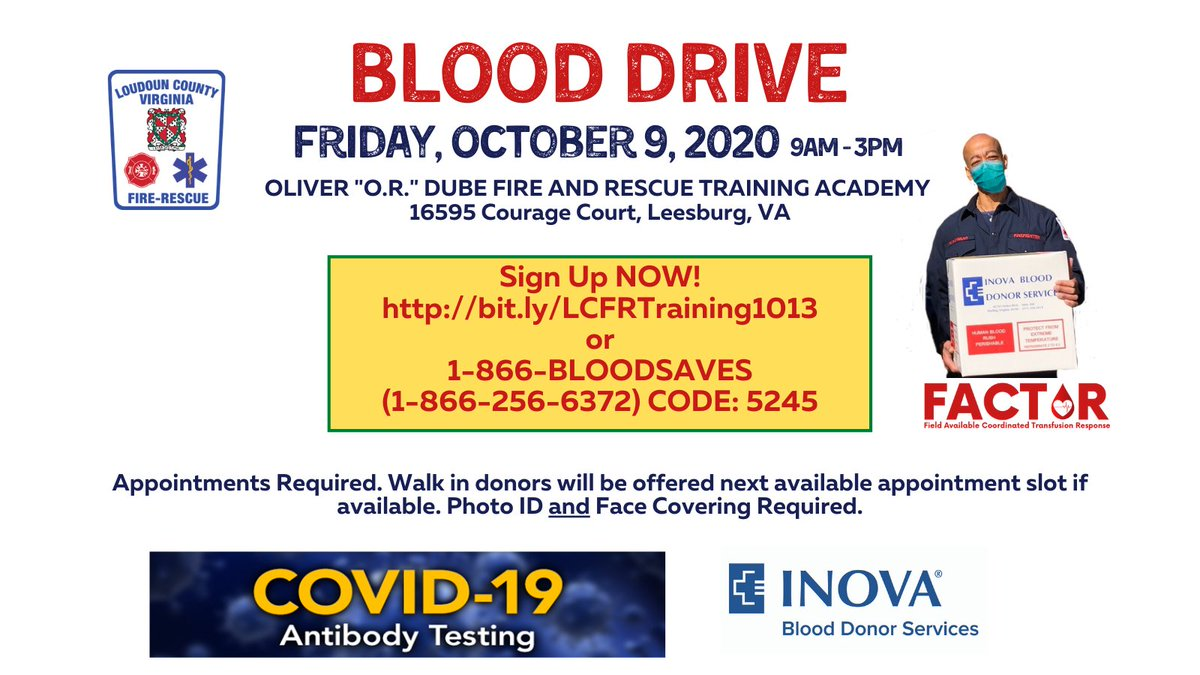 Sign Up NOW! LC-CFRS Blood Drive 10/9 from 9-3pm  or 1-866-256-6372 CODE 5245  Appointments Req'd. Photo ID & Face Covering Required. @InovaBlood will be testing all successful blood donations for COVID-19 antibody. More  @Chief600KJ