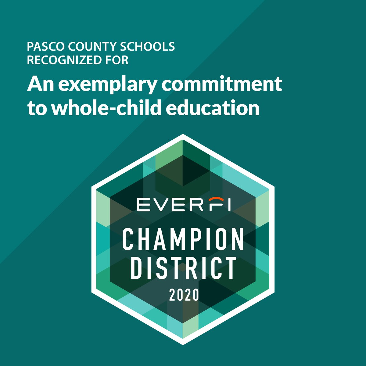 Pasco County Schools has earned the @EVERFI Champion Seal, awarded annually to North American school districts who've made an exemplary commitment to whole-child education.