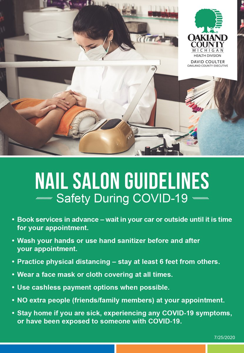 Nail salon appointments should be made in advanced. Wait in your car or outside before your appointment. #COVID19