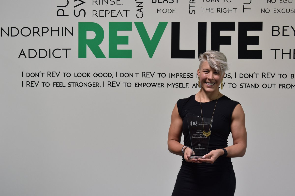 Sarah DeGray, Owner and Founder of REV Indoor Cycling, was awarded VT's Woman-Owned Business of the Year.