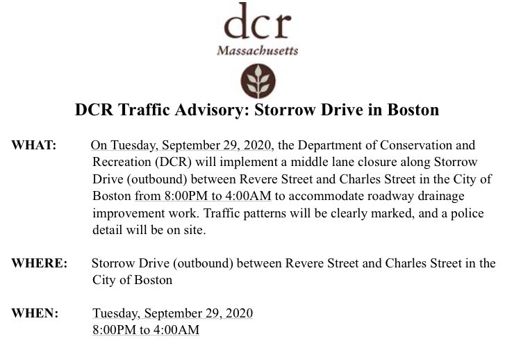 @MassDCR has issued the following traffic advisory for Storrow Drive in the City of Boston: