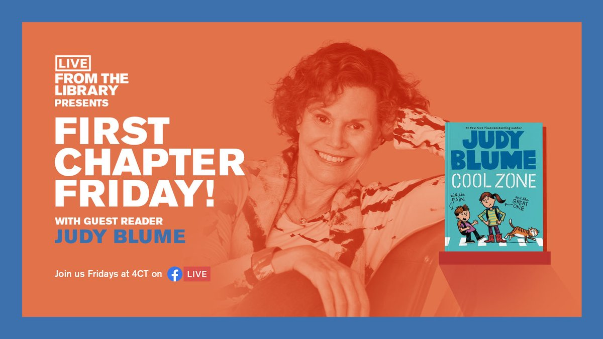 Our next #FirstChapterFriday features children's/YA author, literary icon, and 2018 @CPLFoundation Carl Sandburg Literary Award Winner, @judyblume! 🤩 Tune in at 4 PM CT as Judy reads an excerpt from her book  Cool Zone with the Pain and the Great One 👉