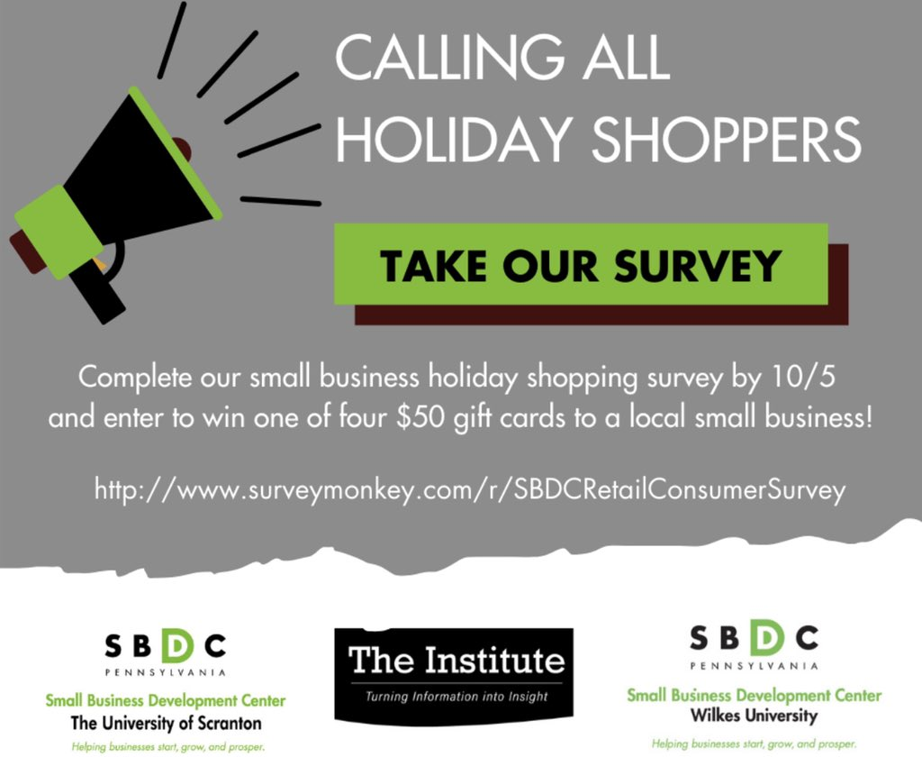 🛍🛍𝑨𝒕𝒕𝒆𝒏𝒕𝒊𝒐𝒏 𝒉𝒐𝒍𝒊𝒅𝒂𝒚 𝒔𝒉𝒐𝒑𝒑𝒆𝒓𝒔! 🛍🛍  If you live in #NEPA, please take a few minutes to complete our survey to help local #smallbusinesses prepare for this holiday season! This year more than ever we need to #shopsmall !