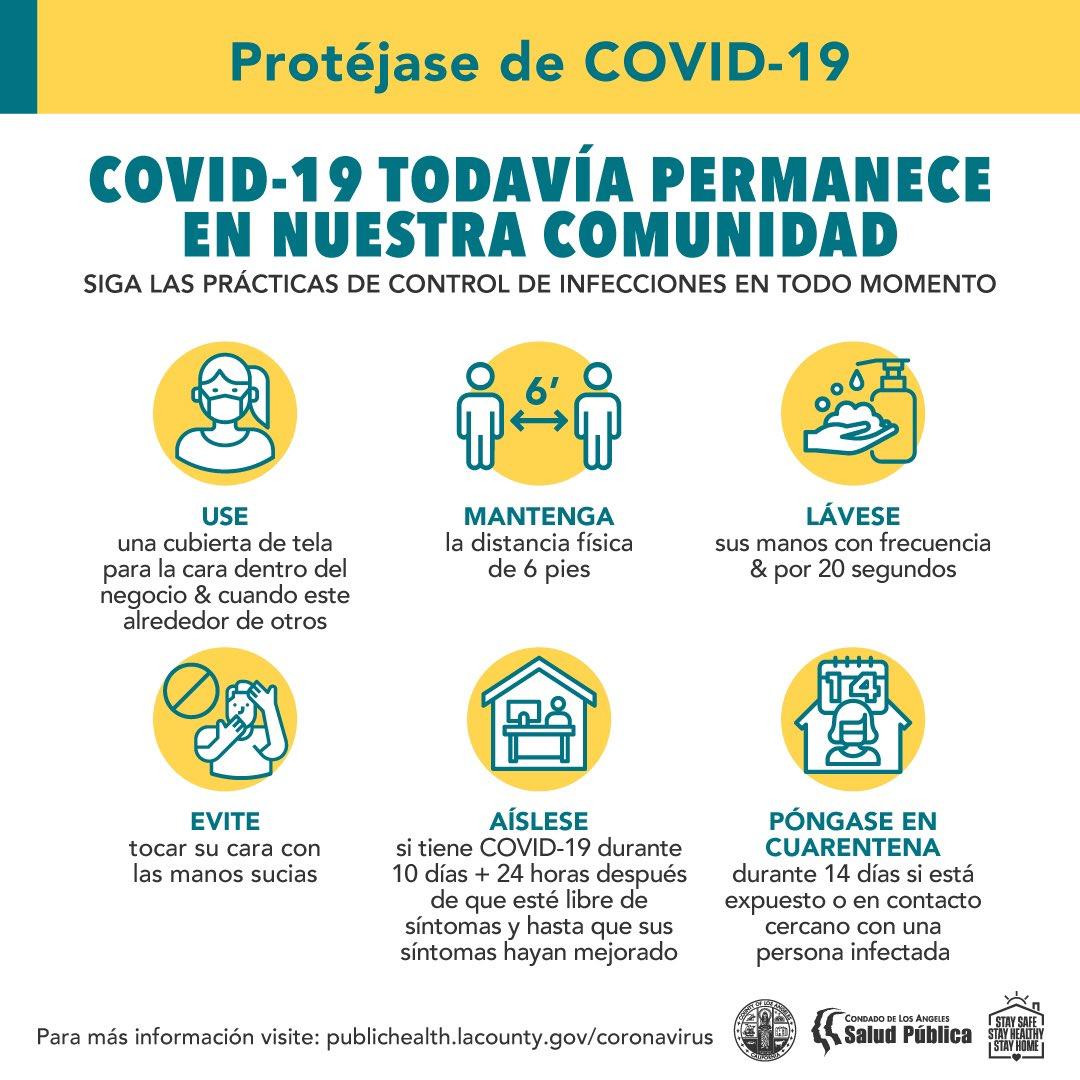 COVID-19 todavía permanece en nuestra comunidad y debemos seguir usando las herramientas que tenemos para #SlowTheSpread.