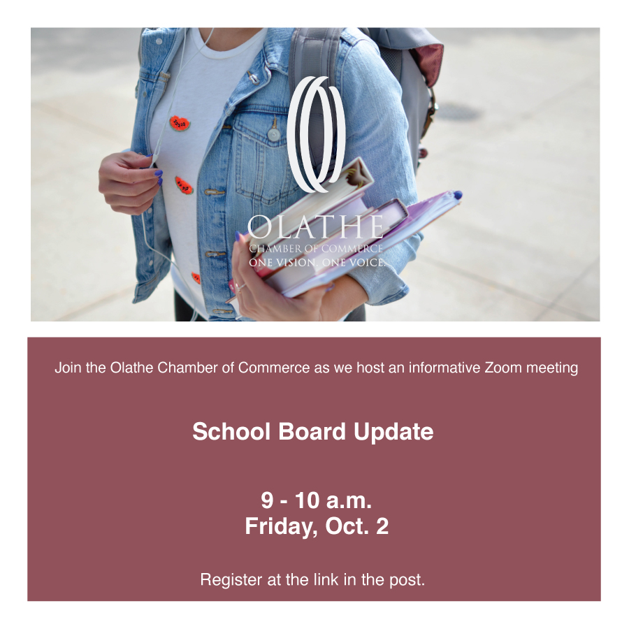 Please join us for a great school board update at 9 a.m. next Friday, Oct. 2, as we welcome BOE members from @olatheschools and @SHSchools to our Zoom webinar. Register now.