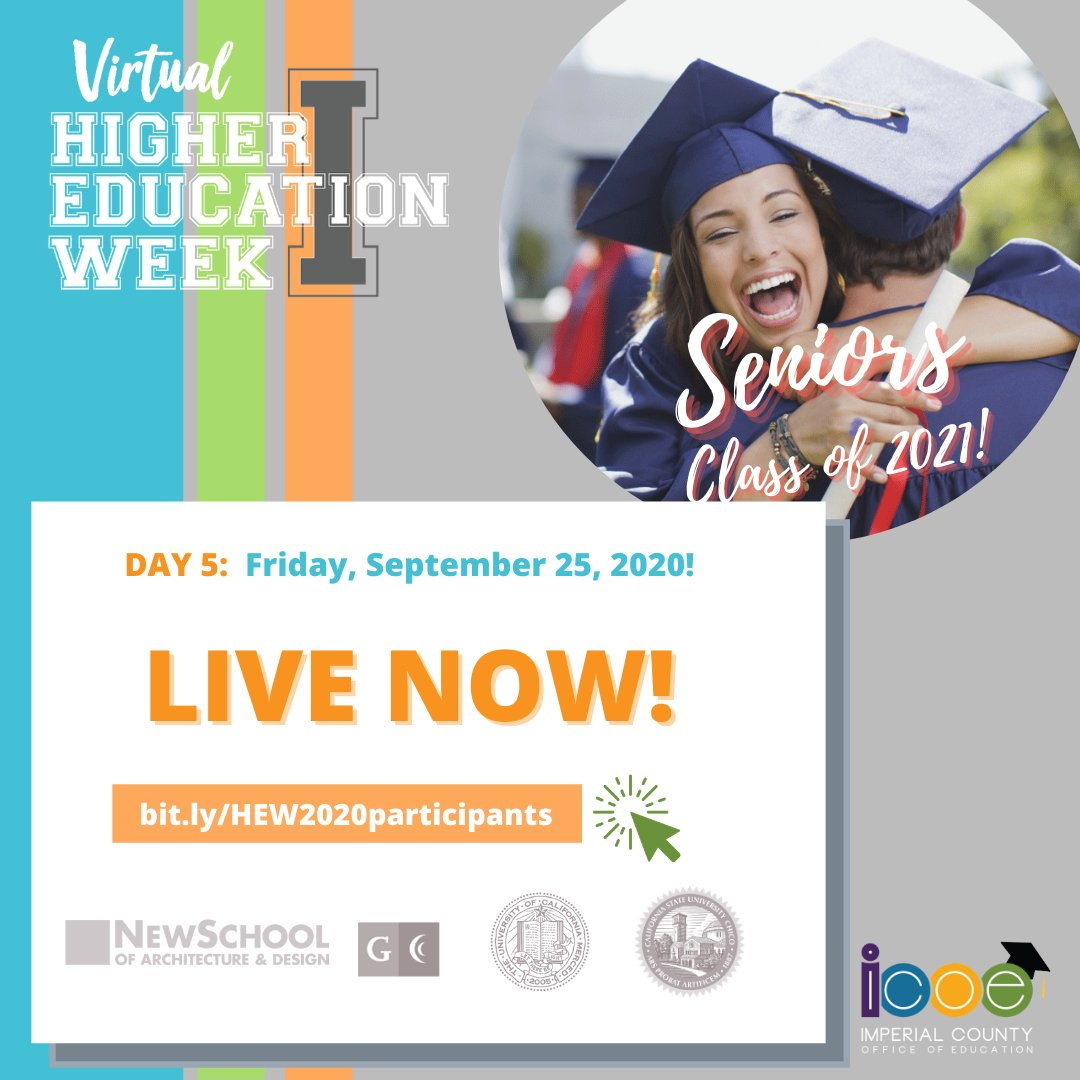 NOW LIVE! Join representatives from New School of Architecture & Design, Grossmont College, UC Merced, and Chico State to learn more about college and admissions! Join webinar ➡️