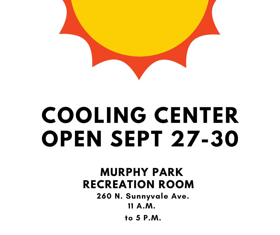 Stay safe in the heat this coming week.   A cooling center at Murphy Park will be open Sunday, Sept. 27 through Wednesday, Sept. 30 from 11 a.m. to 5 p.m.   ☀️Forecast Details: @NWSBayArea 🌡️ Heat Safety Tips: @SunnyvaleDPS 🆒Area Cooling Centers: @SCC_OES