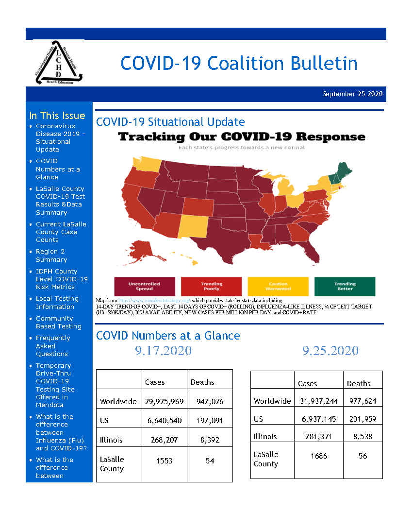 Weekly COVID-19 Coalition Bulletin - September 25, 2020 If someone would like to receive the bulletin directly, they may sign up to have the bulletin sent to their email.