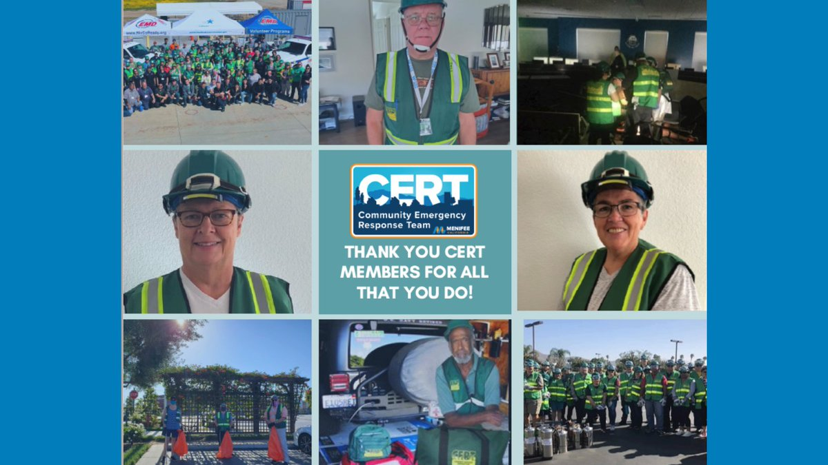 Thank you to all the CERT members who volunteer their time to make Menifee such a great and safe community! We couldn't do it without each and every one of you! #CERTWeek #MenifeeCERT #Menifee #CERT
