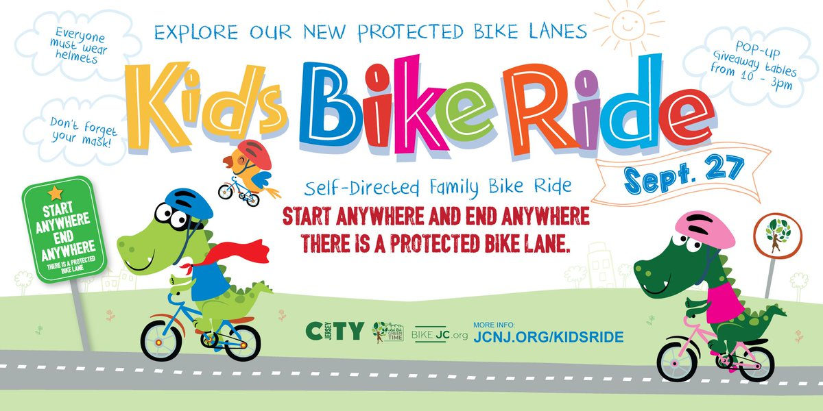 This Sunday explore JC's new protected bike lanes on a self directed family bike ride! From 10 - 3pm, we'll be giving away goodies for the kids!  Look for balloons! 🎈 Stay on Bike Lanes 🚴🏾 START anywhere! 🏁 END anywhere! 🛑  See the map at