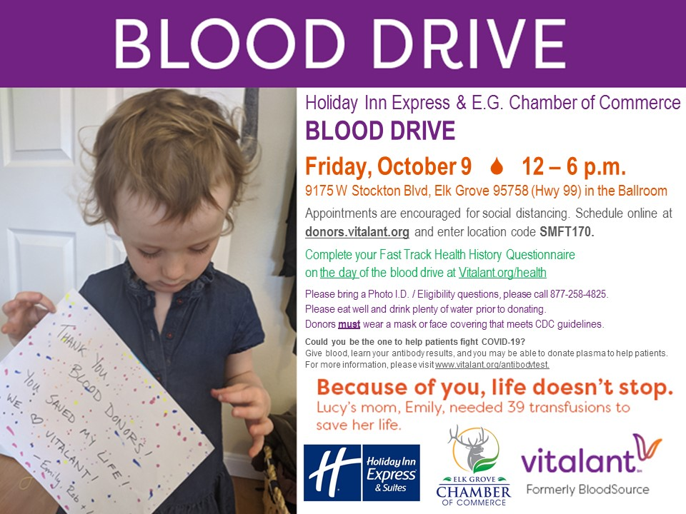 Community Blood Drive on October 9th!  For more information: