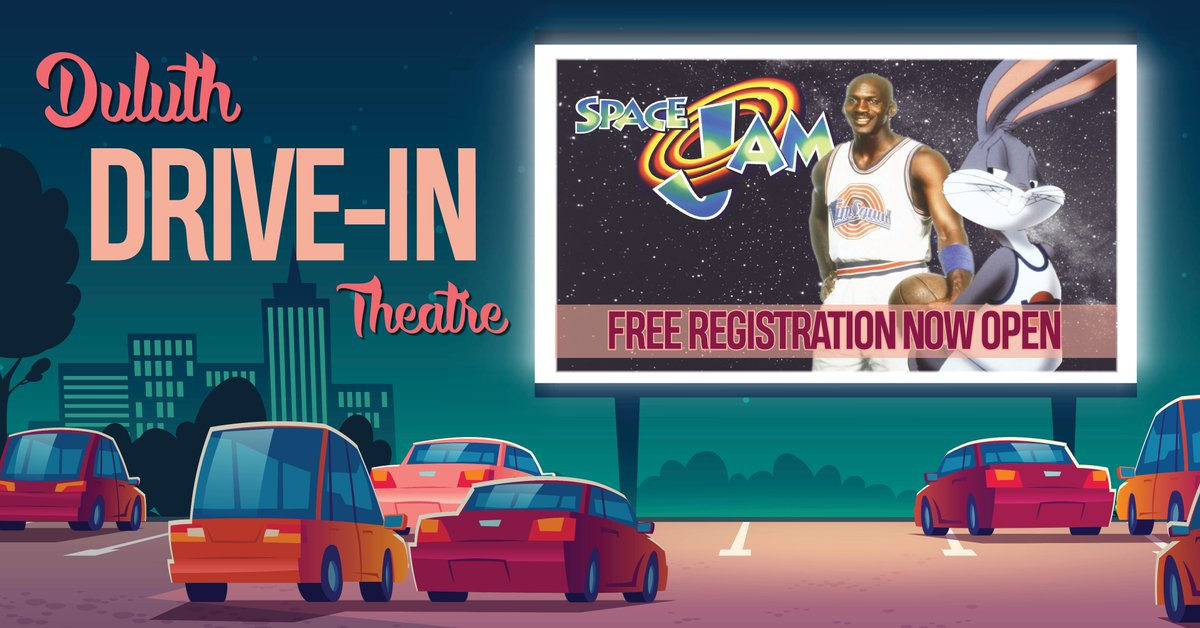 We still have a few spots left for our Drive-In Theatre tomorrow evening at Duluth High School! This event is free to attend but registration is required. Space Jam will begin at dusk.  Reserve your spots now by visiting: